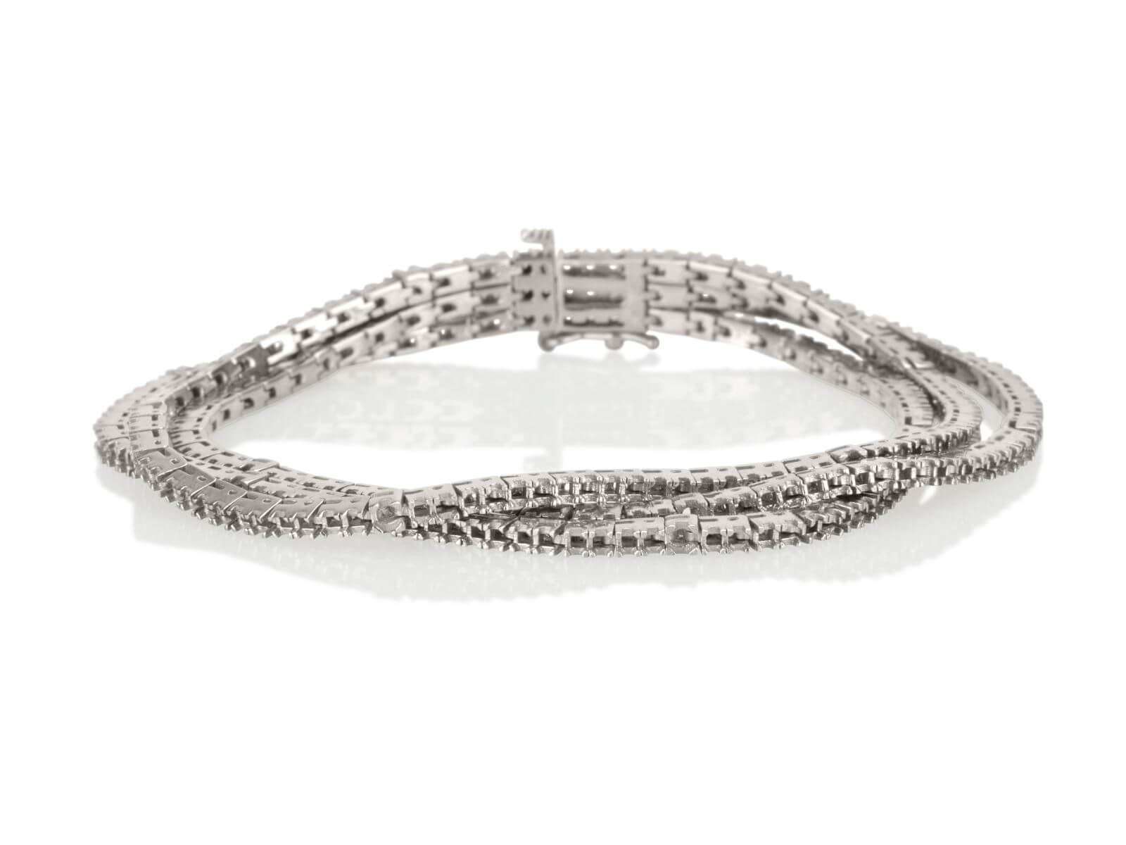 Tennis bracelet 3 Lines 4 prongs 2