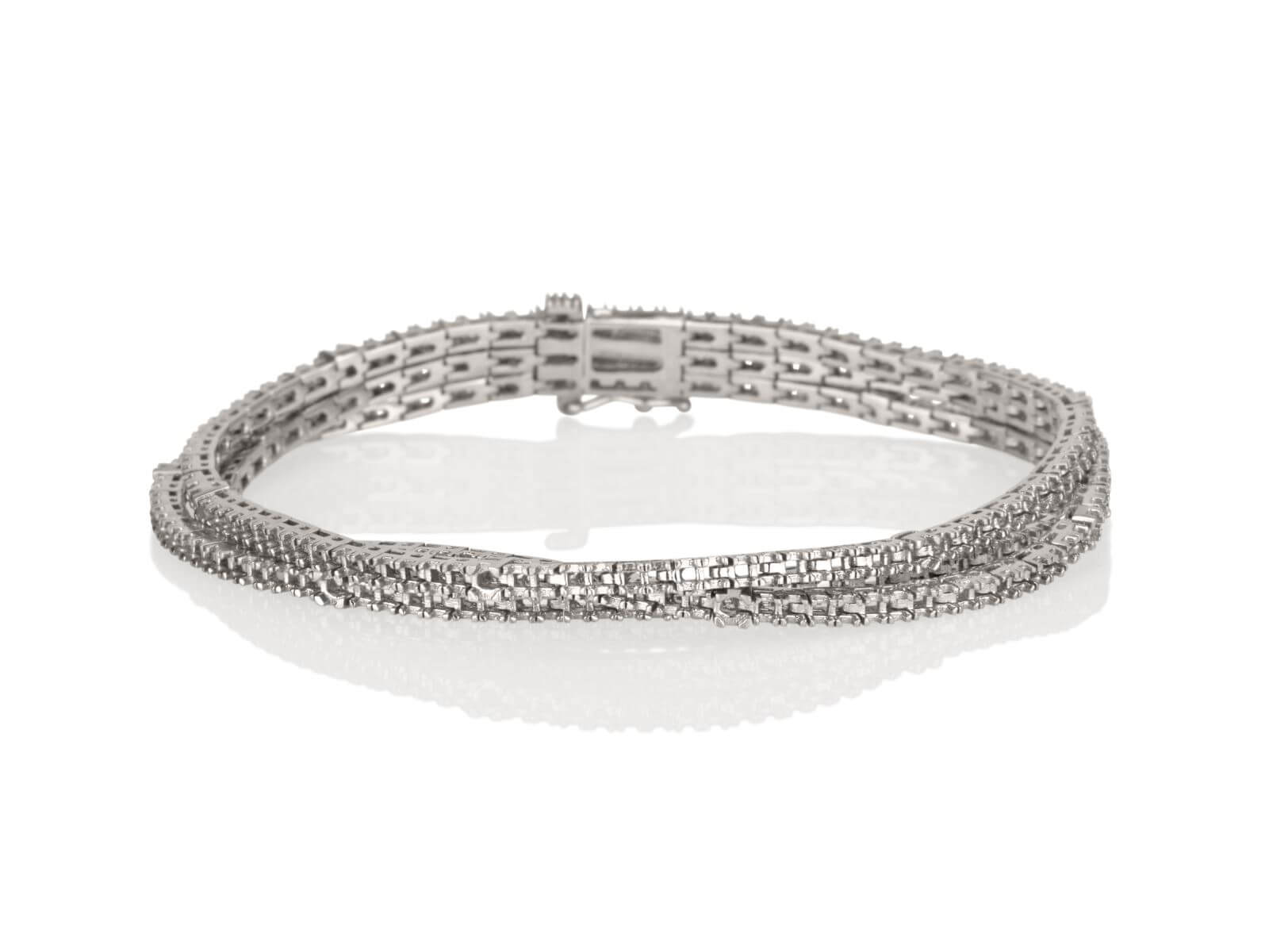 Tennis bracelet 3 Lines 4 prongs 1